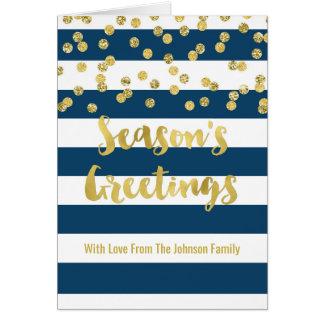 Navy Blue Stripes Gold Confetti Season's Greetings Card