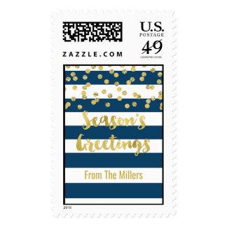 Navy Blue Stripes Gold Confetti Season's Greetings Postage