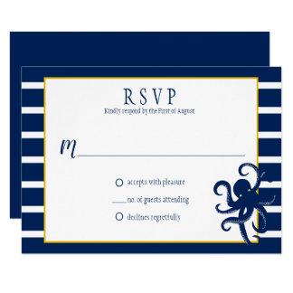 Navy Blue Stripes Gold Details Nautical RSVP   Card