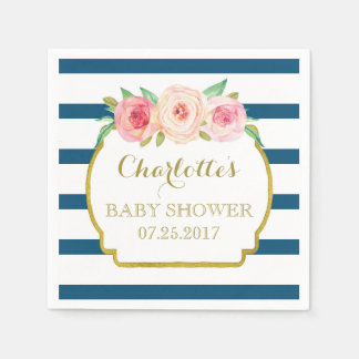 Navy Blue Stripes Gold Pink Floral Baby Shower Napkin