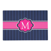 Navy Blue Stripes Hot Pink Custom Monogram Placemat