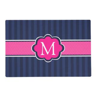 Navy Blue Stripes Hot Pink Custom Monogram Placemat