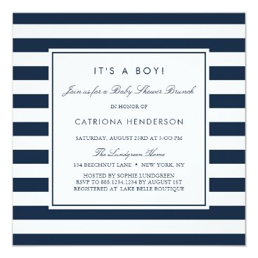 Toddler & Baby themed Navy Blue Stripes It's a Boy Baby Shower Brunch Card