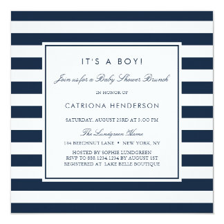 Navy Blue Stripes It's a Boy Baby Shower Brunch Invitation