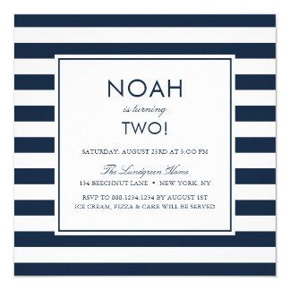 Navy Blue Stripes Kids Birthday Party Invitation