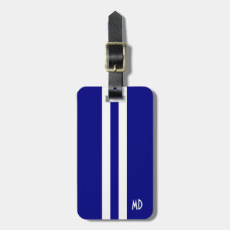 Navy Blue Stripes Monogram Luggage Tag for Men