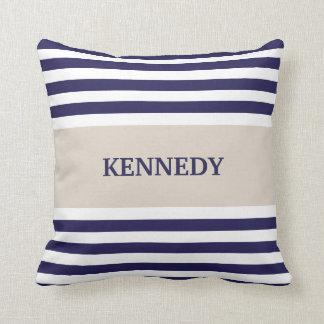 Navy Blue Stripes Monogram Throw Pillow