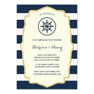 Navy Blue Stripes | Nautical Anniversary Party Card