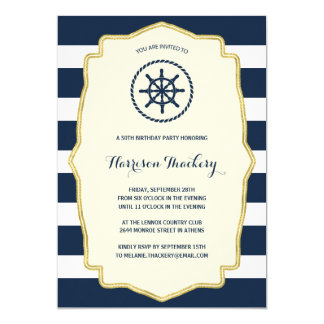 Navy Blue Stripes | Nautical Birthday Party 5x7 Paper Invitation Card
