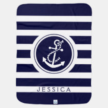 Navy Blue Stripes & Nautical Boat Anchor Receiving Blanket