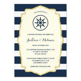 Navy Blue Stripes   Nautical Rehearsal Dinner Card