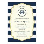 Navy Blue Stripes | Nautical Rehearsal Dinner 5x7 Paper Invitation Card