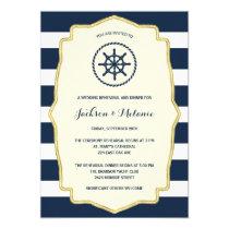 Navy Blue Stripes   Nautical Rehearsal Dinner Invitation