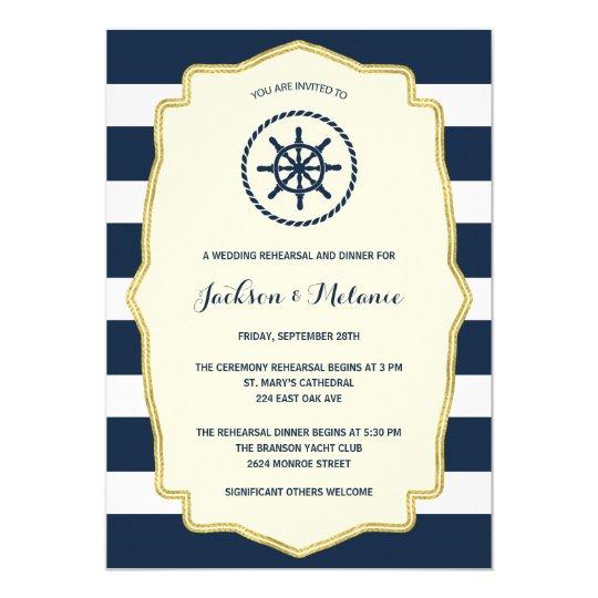 Navy Blue Stripes | Nautical Rehearsal Dinner Invitation ...