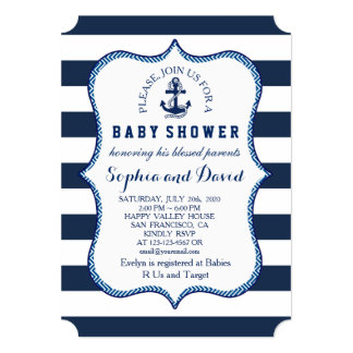 Navy Blue Stripes Nautical Theme BABY SHOWER Card