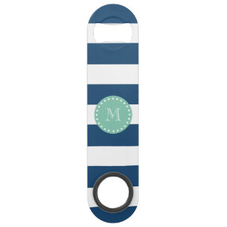 Navy Blue Stripes Pattern, Mint Green Monogram Bar Key