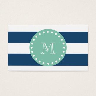 Navy Blue Stripes Pattern, Mint Green Monogram Business Card