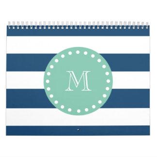 Navy Blue Stripes Pattern, Mint Green Monogram Wall Calendar