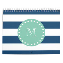 Navy Blue Stripes Pattern, Mint Green Monogram Calendar