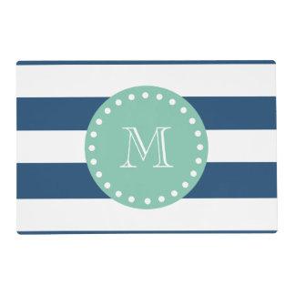 Navy Blue Stripes Pattern, Mint Green Monogram Laminated Placemat