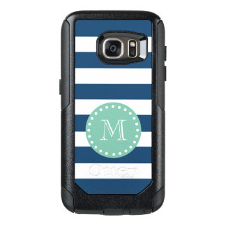 Navy Blue Stripes Pattern, Mint Green Monogram OtterBox Samsung Galaxy S7 Case