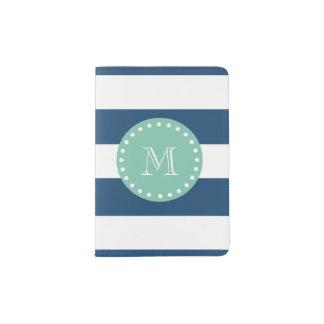 Navy Blue Stripes Pattern, Mint Green Monogram Passport Holder