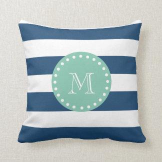Navy Blue Stripes Pattern, Mint Green Monogram Pillow