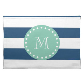 Navy Blue Stripes Pattern, Mint Green Monogram Placemats