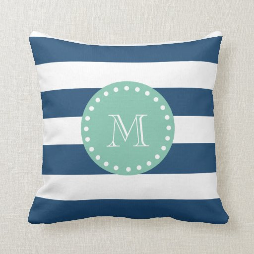 Navy Blue And Green Throw Pillows : Navy Blue Stripes Pattern, Mint Green Monogram Throw Pillow Zazzle