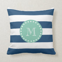 Navy Blue Stripes Pattern, Mint Green Monogram Throw Pillow