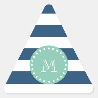 Navy Blue Stripes Pattern, Mint Green Monogram Triangle Sticker