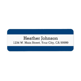 Navy Blue Stripes Pattern Modern Simple Label