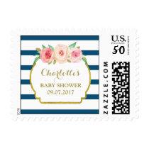 Navy Blue Stripes Pink Floral Baby Shower Stamps