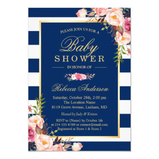 Navy Blue Stripes Pink Floral Classy Baby Shower Card