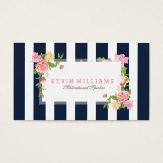 Navy Blue Stripes & Pink Watercolor Roses Business Card