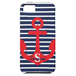 Navy Blue Stripes Red Anchor Monogram Name iPhone 5 Case