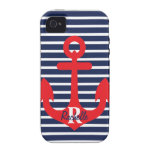 Navy Blue Stripes Red Anchor Monogram Name Vibe iPhone 4 Case