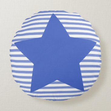 Beach Themed Navy Blue Stripes & Star - Round Pillow