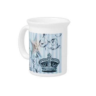 navy blue stripes starfish seashell crown nautical pitcher