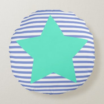 Beach Themed Navy Blue Stripes & Teal Star - Round Pillow