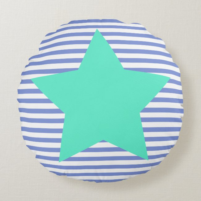 Navy Blue Stripes & Teal Star - Round Pillow