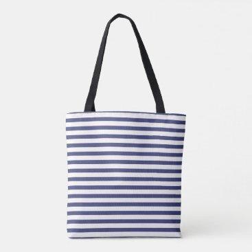 Beach Themed Navy Blue Stripes Tote Bag