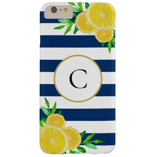Navy Blue Stripes Watercolor Summer Lemon Monogram Barely There iPhone 6 Plus Case