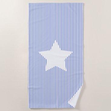 Beach Themed Navy Blue Stripes & White Star Beach Towel