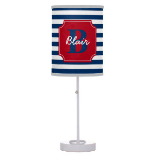 Navy Blue Stripes with Red Frame Name and Initial Desk Lamp
