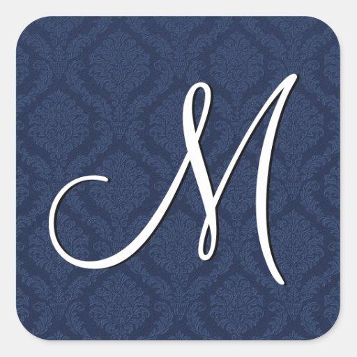 NAVY BLUE Subtle Damask Wedding Square Sticker