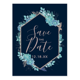 Navy Blue Succulents & Rose Gold Save the Date Postcard
