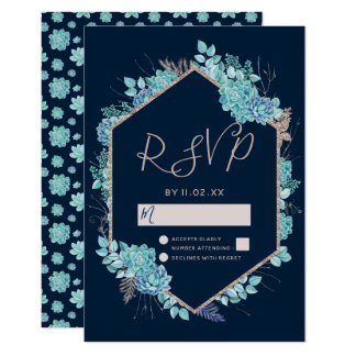 Navy Blue Succulents & Rose Gold Wedding RSVP Card