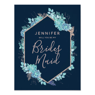 Navy Blue Succulents Will You Be My Bridesmaid Card