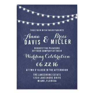 Navy Blue Summer String Light Wedding Invites